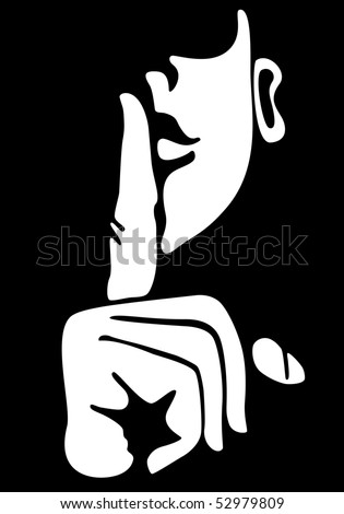 Gesture with finger on lips. Vector version also available in my portfolio.