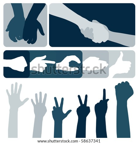 Gestures of hands. The big collection.