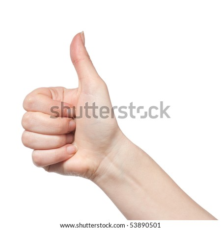 gesturing hand OK isolated on white - stock photo