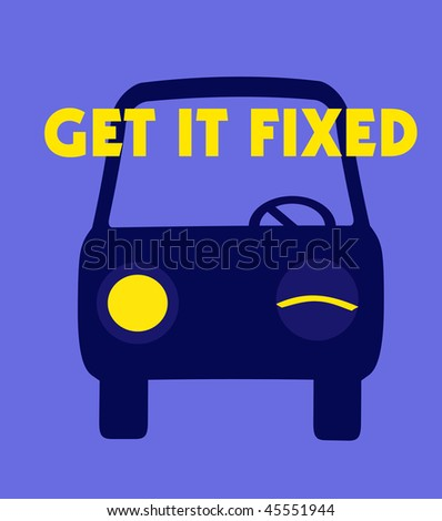 get it fixed car repair poster blue and yellow