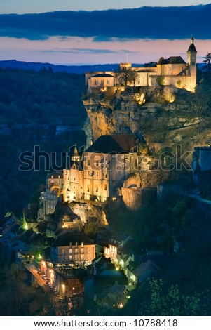 Getting dark in the village of Rocamadour