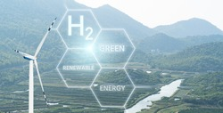 Getting green hydrogen from renewable energy sources. Concept