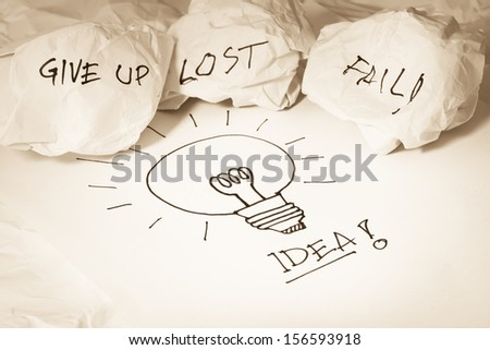Getting idea after give up, fail and lost concepts display on crumpled papers