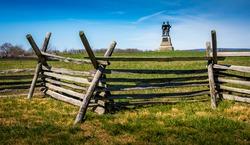 Gettysburg memorial behind a fence at Gettysburg National Park.