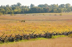 Gettysburg National Military Park battlefield and fence