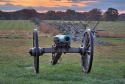 GETTYSBURG, PA - OCT 18: Artillery near a fence line on the morning of Oct 18, 2014 in Gettysburg, Pennsylvania.