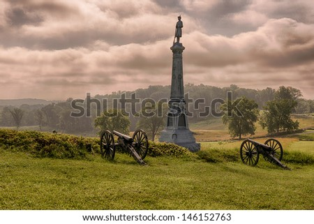 GETTYSBURG, PENNSYLVANIA - JULY 5: Ohio's Tribute monument to Carroll's Brigade on East Cemetery Hill on July 5, 2013 in Gettysburg, Pennsylvania