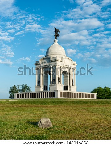GETTYSBURG, PENNSYLVANIA - JULY 5, 2013: The Pennsylvania Memorial at the Gettysburg National Military Park on the 150th anniversary of the battles on July 5, 2013 in Gettysburg, Pennsylvania