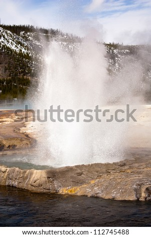 Geyser by the Firehole River, Biscuit Basin in Yellowstone National Park
