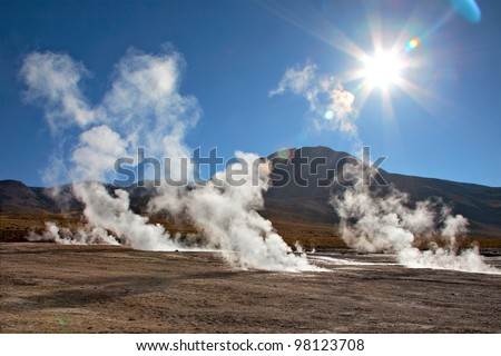 Geyser field El Tatio in Atacama region, Chile