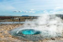 Geysir, the father of the geysers, erupting. Iceland