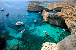 Ghajn Tuffieha Bay in Malta, around mid day, view from above