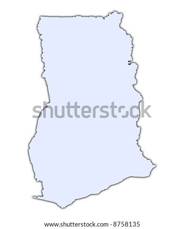 Ghana light blue map with shadow. High resolution. Mercator projection.
