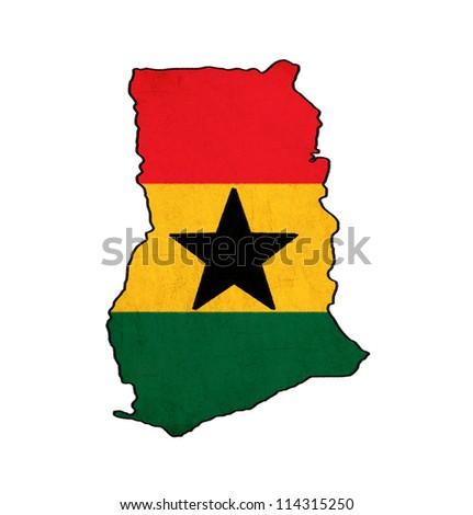 Ghana map on Ghana flag drawing ,grunge and retro flag series