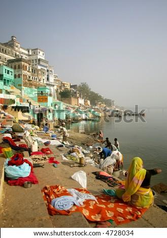 Ghats in ancient city of Varanasi, India - stock photo
