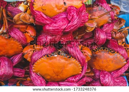 Ghe Hap Bia or crabs steamed in beer, a popular street food sold in Hanoi, Vietnam Imagine de stoc ©