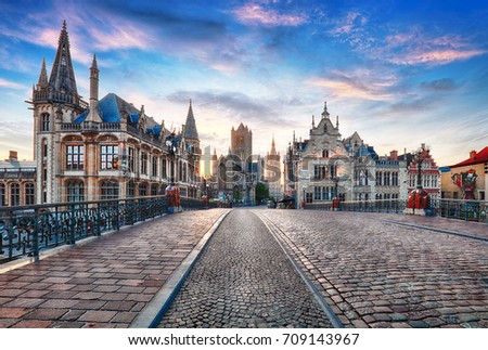 Shutterstock Ghent, Belgium at day, Gent old town