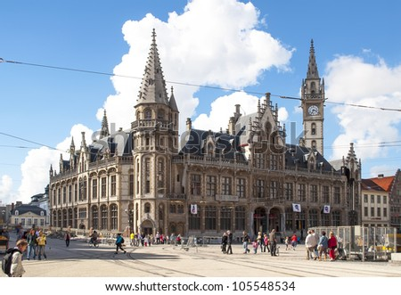 GHENT, BELGIUM-SEPTEMBER 12:main facade of City Hall on September 12,2010 in Ghent,Belgium.It was built in 1518 and the building can be visited from May to October from 14:30 - stock photo