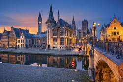 Ghent. Image of Ghent, Belgium during twilight blue hour.