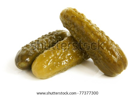 Gherkins on a white background