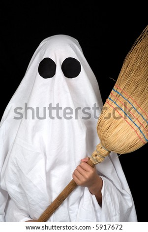 ghost child hold an broom