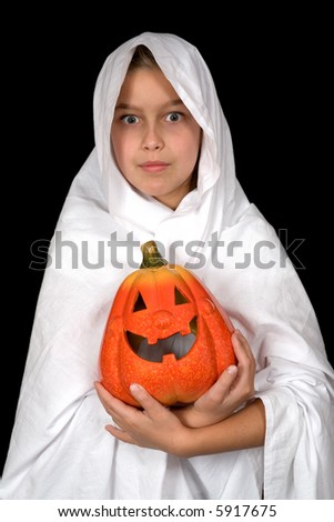 ghost child holding an halloween pumpkin