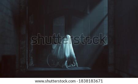 Ghost Evil Spirit Sitting in a Wheelchair in a Derelict Asylum Hospital 3d Illustration  Foto stock ©