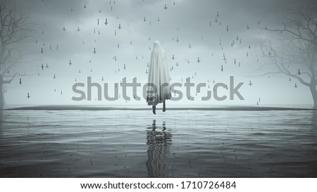 Ghost Floating Evil Spirit in a Death Shroud Over Water on a Foggy Day Black Sand an some Dead Trees Floating Upside Down Crosses 3d illustration 3d render   Stock foto ©