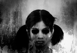 Ghost girl,,Horror background for halloween concept and book cover ideas