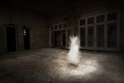 Ghost girl in white dress appears in an old room