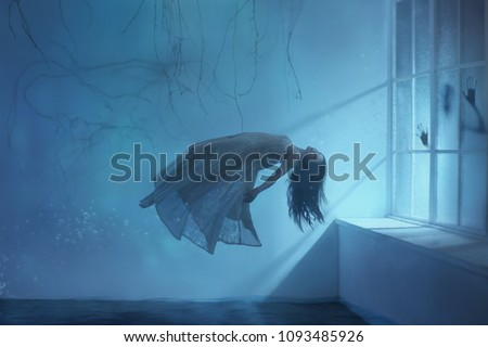ghost girl long hair in a vintage dress. Room under water. photograph of levitation resembling  dream. dark Gothic interior branches  huge window blue light Art photo mysterious woman silhouette