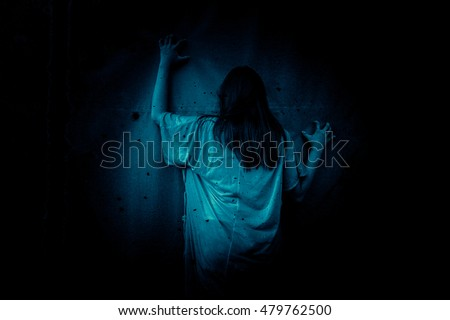 Ghost in Haunted House,Horror background for halloween concept and movie poster project