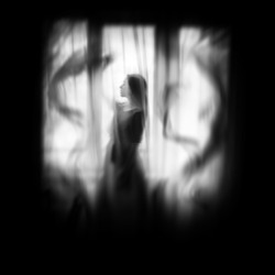 Ghost in the hous, ghost in room, mystical and fantasy style, blur picture, scary and mysterious, night in city, midnight nightmare, fantasy story, woman in black dress,
