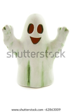 Ghost in white and green isolated over white