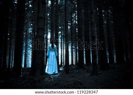 Ghost of the lady in a deep dark forest