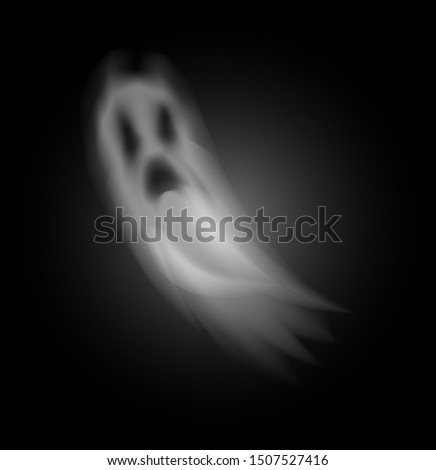 Ghost poltergeist creature halloween isolated icon raster. Scary mysterious spirit haunting people at night. Mystery of horror and spooky apparition