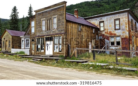 Ghost town buildings in St. Elmo near Buena Vista, Colorado, U.S.A.