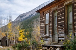 Ghost town cabin in the mountains, St. Elmo, Colorado.