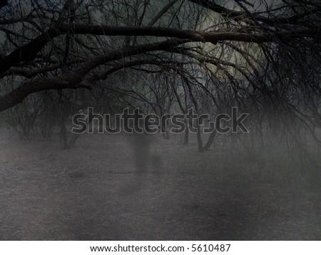 Ghost Walking Through Spooky Trees
