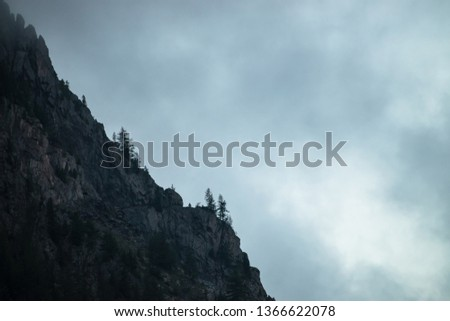 Ghostly giant rocks with trees in thick fog. Mysterious huge mountain in mist. Early morning in mountains. Impenetrable fog. Dark atmospheric eerie landscape. Tranquil mystic atmosphere of wilderness. #1366622078