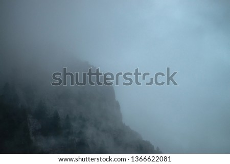 Ghostly giant rocks with trees in thick fog. Mysterious huge mountain in mist. Early morning in mountains. Impenetrable fog. Dark atmospheric eerie landscape. Tranquil mystic atmosphere of wilderness. #1366622081