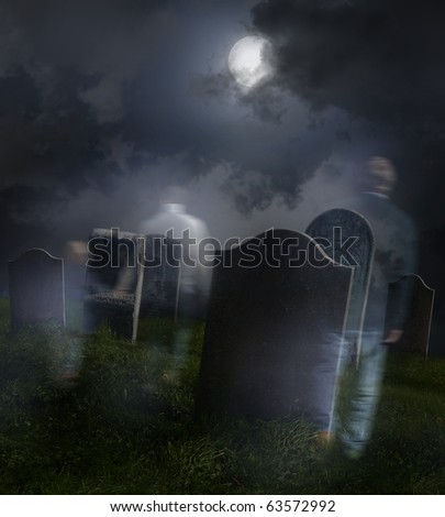 Ghosts wandering in old cemetery with full moon - stock photo