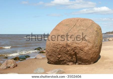 Giant boulder on the baltic sea coast (Latvia)