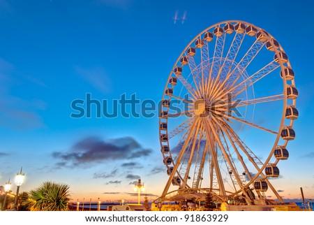 Giant Brighton Wheel at sunrise.