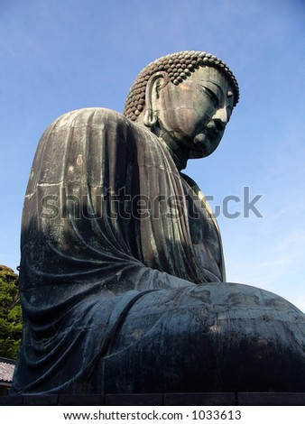 giant bronze statue of Buddha in Kamakura, Japan