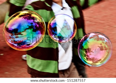 Giant bubbles, launched at International Children\'s Day. Timisoara, Romania.