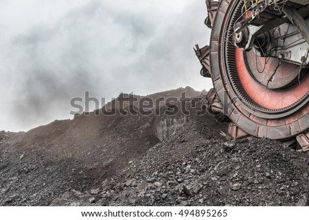 Giant bucket wheel excavator for digging the brown coal, Czech Republic