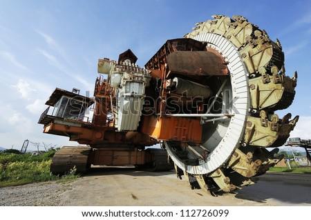Giant bucket wheel excavator for open pit coal mine - lignite