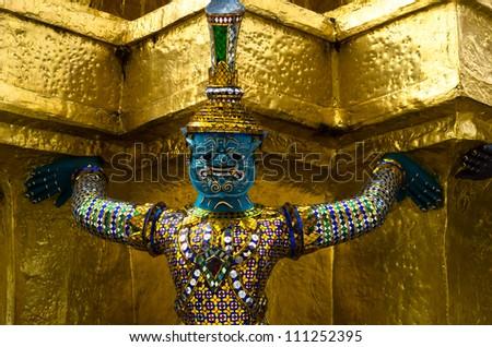 giant-buddha-in-gra nd-palace-bangkok-t hailand - stock photo