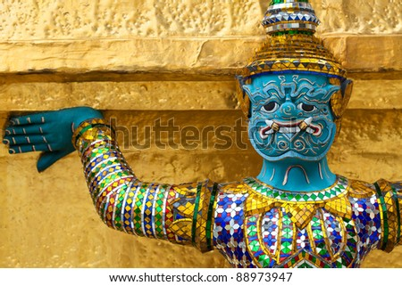 Giant Buddha in Grand Palace, Bangkok, Thailand - stock photo